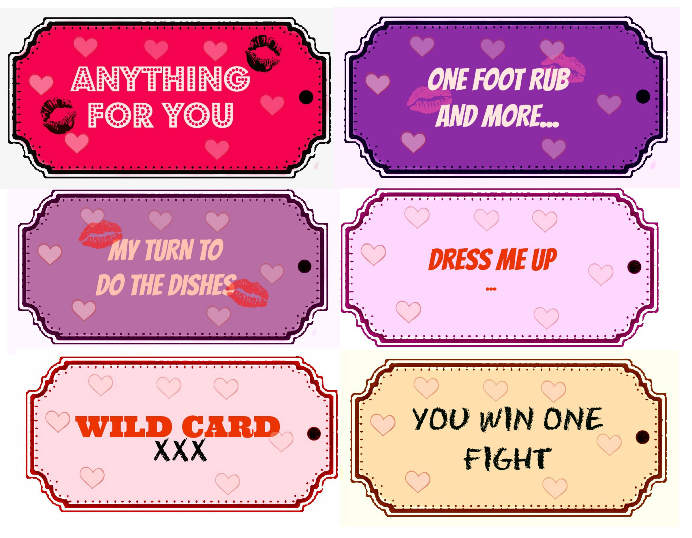 Sex coupons for your boyfriend